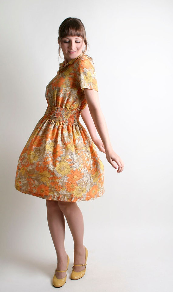 1960s Floral Summer Dress - Vintage Tangerine Orange and Lemon Yellow Flower Print - Medium to Large