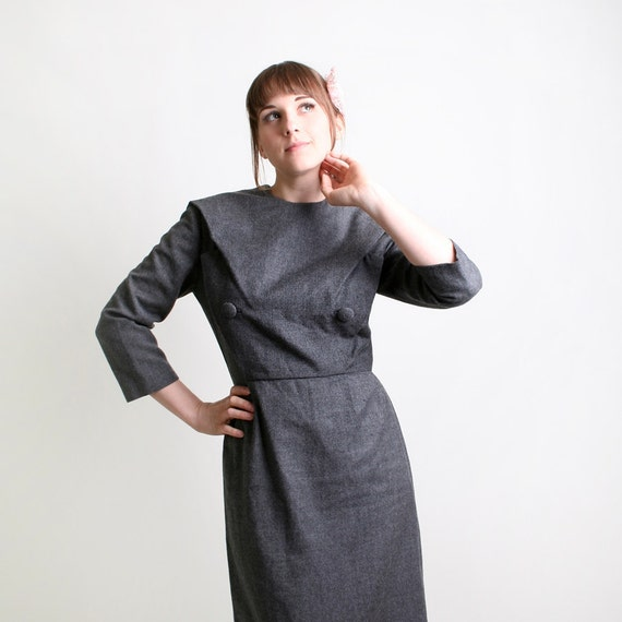 Vintage Vogue Paris Original Dress - 1950s Grey Wiggle Dress - Medium to Large