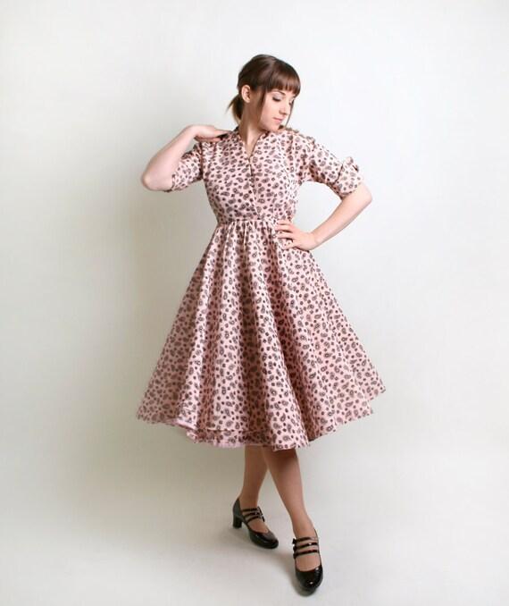 Vintage 1950s Dress - Cotton Candy Pink Paisley Print Day Dress by Robert Lee - Medium