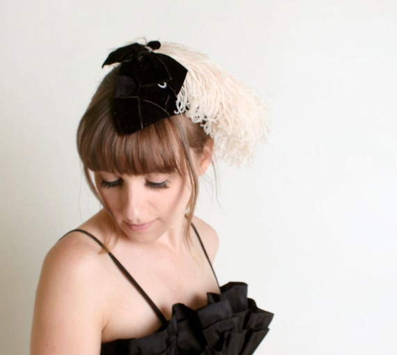 Vintage Feather Hat - Wedding Black and Cream 1940s Fascinator by Sommert Kaufmann