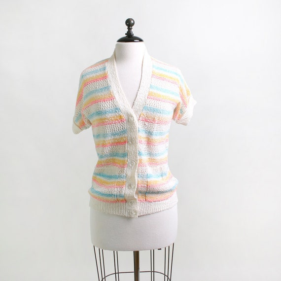 Vintage Striped Sweater - Candy Color Rainbow - Medium - Easter