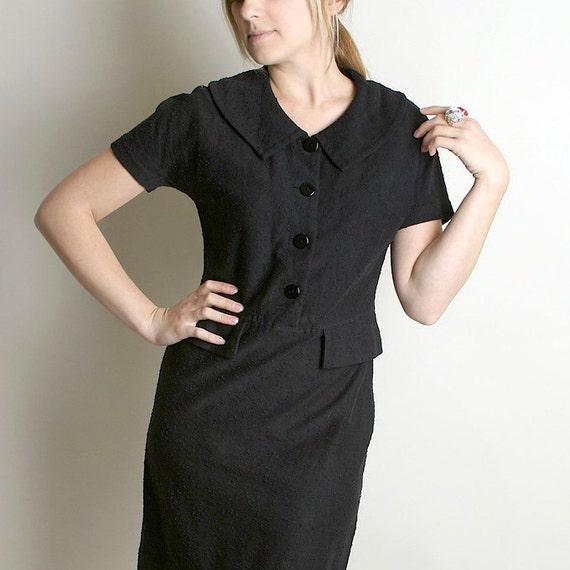 Vintage Wiggle Dress - Black 1960s Noir Koret of California Knit Dress - Medium Mad Men Fashion