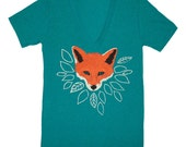 Fox - Unisex Deep V-neck Tshirt Tee Orange Forest Womens Nature Leaves Wolf Teal Shirt Athletic Triblend Emerald Green Evergreen T-shirt