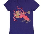 Squid Attack - Womens Girls T-Shirt Track Tee Shirt Awesome Neko Case Nautical Octopus Kraken Monster Brooklyn Bridge Blue Indigo Tshirt