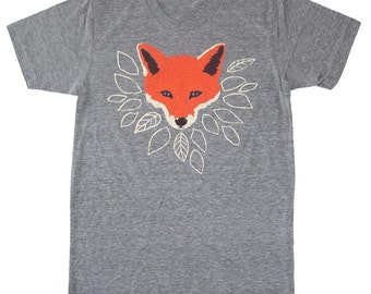Fox - Unisex / Mens T-shirt Tee Grey Shirt Woodland Nature Cute Fantastic Mr Fox Orange Animal Forest Wolf Leaves Tree Athletic Gray Tshirt