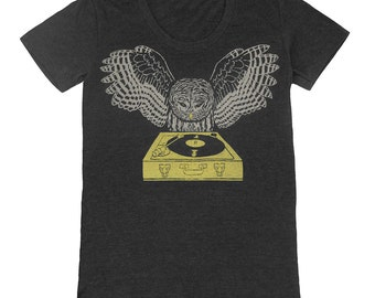 DJ Owl - Womens T-shirt Girls Tee Shirt Turntable Music Bird Retro Awesome Cool Feathers Woodland Record Spinning Charcoal Tri Black Tshirt
