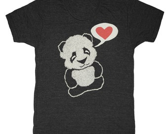Panda Bear - Unisex Mens T-shirt Tee Shirt Adorable Cool Vintage Retro Love Pandas Red Heart Hand Printed Zoo Animal Tri Black Tshirt
