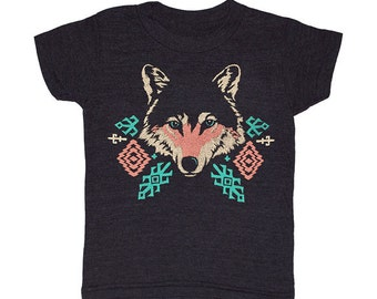 KIDS TODDLER / Wolf - T-shirt Boy Girl Children Tee Shirt Native American Indian Geometric Patterns Turquoise Tribal Tri Black Tshirt