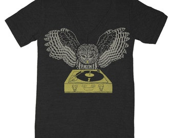 DJ Owl - V-neck T-shirt Tee Shirt Turntable Music Owls Headphones Bird Retro Record Spinning Old School Vneck Charcoal Tri Black Tshirt