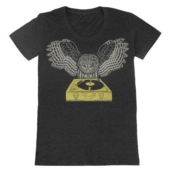 DJ Owl - Womens T-shirt Girls Tee Shirt Turntable Music Bird Retro Awesome Cool Feathers Woodland Record Spinning Charcoal Tri Black Tshirt