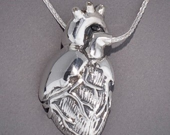 Silver Ventral and Dorsal Anatomical Half Heart Necklaces Set of 2