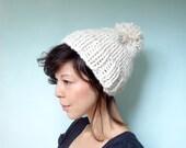 Chunky Knit Pom Pom Beanie Hat Cream