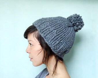 Chunky Knit Pom Pom Beanie Hat Grey