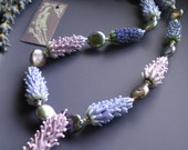 Lavender Glass Bead Harvest Necklace with purple coin pearls, lavender sachet buds