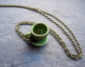 Green Coffee Cup Necklace - Tea Cup Necklace - Moss Green