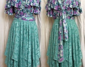 Vintage 1980s Diane Freis Dress with Beaded Top & Handkerchief Hem and Matching Scarf