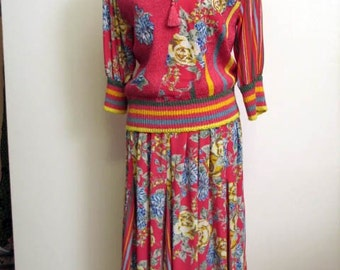 SALE WAS 85.00 Vintage 1980s Wild Mixed Print Sweater and Skirt Set  by Diane Freis