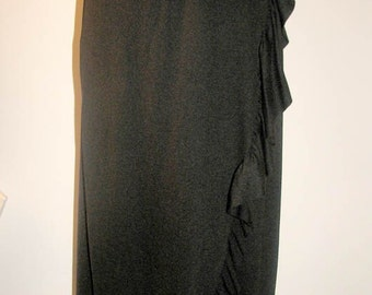 Vintage 1970s Bill Blass Ruffled Matte Jersey Wrap Skirt