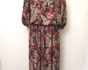 Vintage 1980's Diane Freis Mixed Print Top and Skirt with Sequins