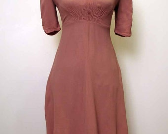 Vintage 1970's Dusty Rose Moss Crepe Dress Bus Stop by Lee Bender