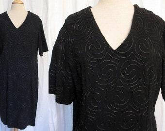 Vintage 1980's Black Crepe Beaded Dress  Size L