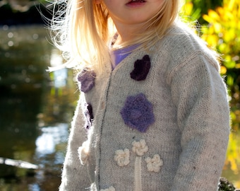 Berry Crumble - Appliquéd Flower Cardigan - Little Cupcakes by lisaFdesign - Download Now - Pattern PDF