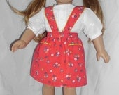 Red Dirndl skirt with blouse for 18 inch doll