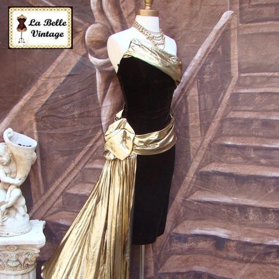 Vintage 80s Prom Dress S ~ Strapless Velvet ~ Asymmetrical ~ Draped Gold Lame'