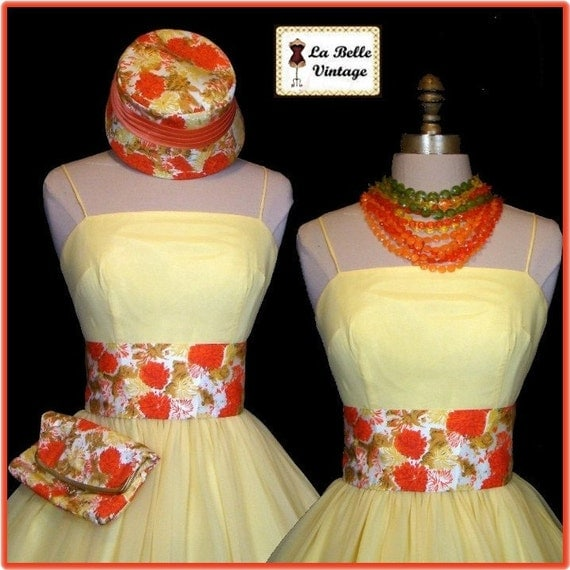 Vintage 50s Yellow Silk Chiffon Dress Floral Party Prom Sundress Hat Belt Purse Set XS S