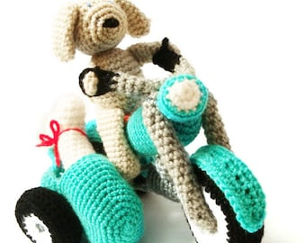 Motorcycle & Dog Crochet  Amigurumi Pattern