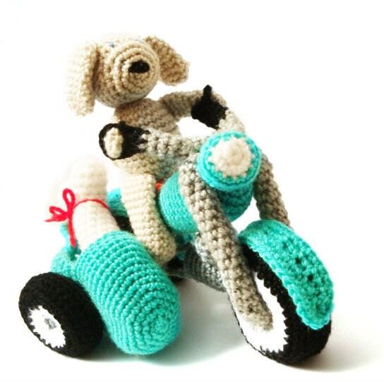 Domino The Dog Amigurumi Crochet Pattern : Motorcycle & Dog Crochet Amigurumi Pattern
