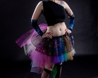 Dots and Rainbows Raver Tutu skirt Adult roller derby costume dance pride --You Choose Size -- Sisters of the Moon