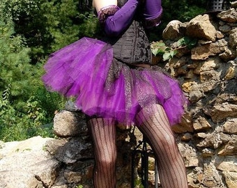 Dark Fairy tutu skirt adult gothic costume halloween dance roller derby purple black adult -- You choose Size -- Sisters of the Moon