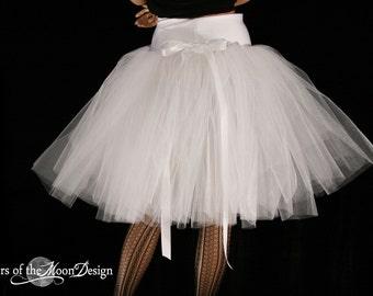 White Victorian Tutu Tulle skirt Romance style knee length Adult formal dance wedding bridal shower ballet - You Choose Size - SOTMD