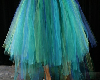 Mermaid tutu tulle skirt adult formal Dancer fantasy fairytale Wedding off beat bridal bustle trail costume - All Sizes- Sisters of the Moon