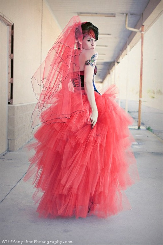 Lydia styled tutu skirt red romantic prom formal floor length dance costume gothic wedding bridal -- You Choose Size -- Sisters of the Moon