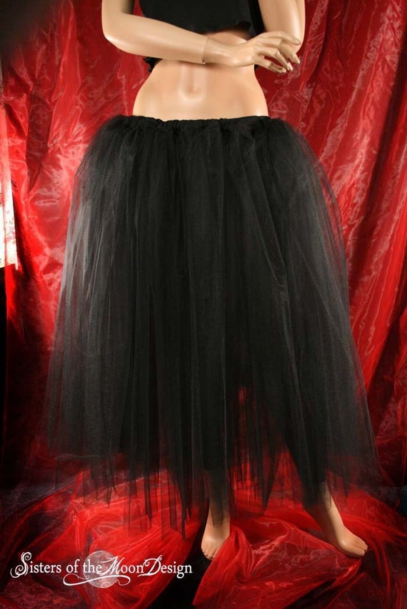 Black tulle skirt Adult tutu Floor length petticoat bridal party Halloween Steampunk Gothic wedding - You Choose Size - Sisters of the Moon