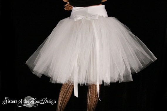White Victorian Tutu Tulle skirt Romance style knee length Adult formal dance wedding bridal shower ballet - You Choose Size - SOTMD