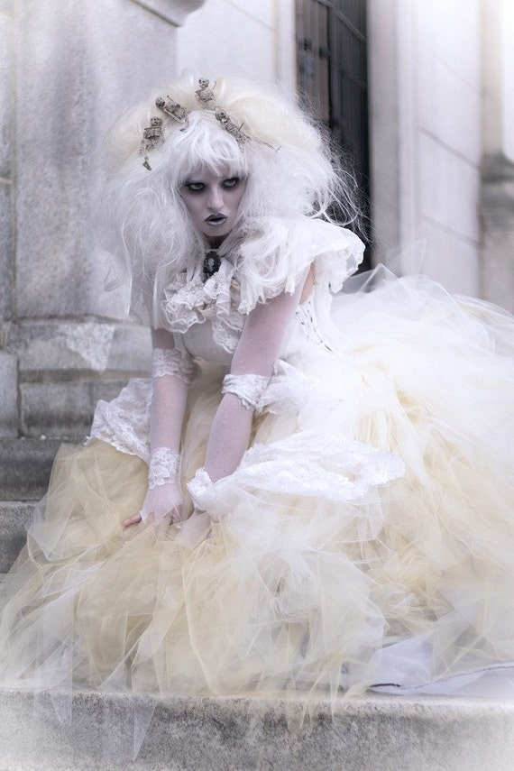 Bridal Glimmer tulle skirt floor length Streamer formal Ivory Gold fairytale wedding costume steampunk -You Choose Size- Sisters of the Moon