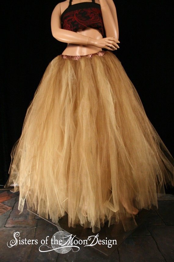 Formal Bridal adult tutu wedding skirt Glimmer floor length Streamer Antique gold and Gold steampunk--You Choose Size -- Sisters of the Moon