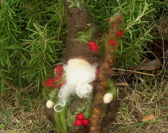 Holly Gnome with Walking Stick Needle felted wool soft sculpture Elf - Elsa Beskow & Waldorf Inspired