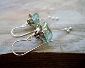 SALE Winter Blossoms Earrings Silver Aqua Flower Jewelry Holiday Jewelry Bridal Jewelry Bridesmaid Earrings Floral Jewelry Mothers Day Gifts