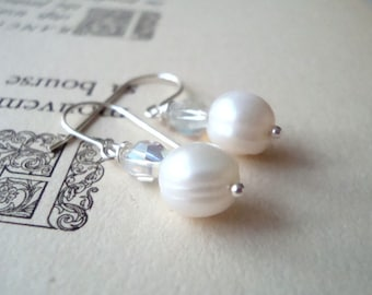 Bridal Earrings - White Pearl and Vintage Crystal - Bridal Jewelry Pearl Jewelry Weddings June Birthstone Gifts For Her Summer Bridal