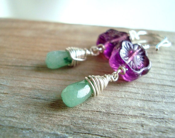 Purple Flower Earrings With Amazonite Mint and Purple February Sterling Silver Wire Wrapped Mothers Day Jewelry Spring OOAK