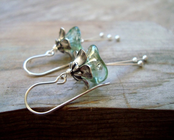 Winter Blossoms Earrings Silver Aqua Flower Jewelry Holiday Jewelry Bridal Jewelry Bridesmaid Earrings Floral Jewelry Mothers Day Gifts
