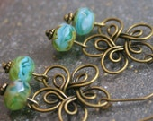Antique Bronze Earrings Sapphire Lime Czech Glass Fire Polished