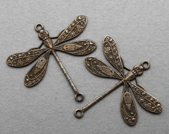 Dragonfly Connector Charms - 2 pcs - Hand Antiqued Brass - Patina Queen