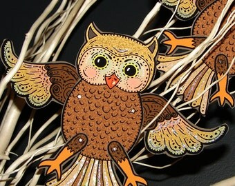 Original Fully Assembled Articutlated Wise Guy the Owl Paper Doll