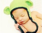 Monkey Earflap Hat - Hot Green, Forest Green