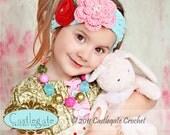 Adjustable Flower Headband - Aquamarine, Country Pink, Rouge Red, Sage Green